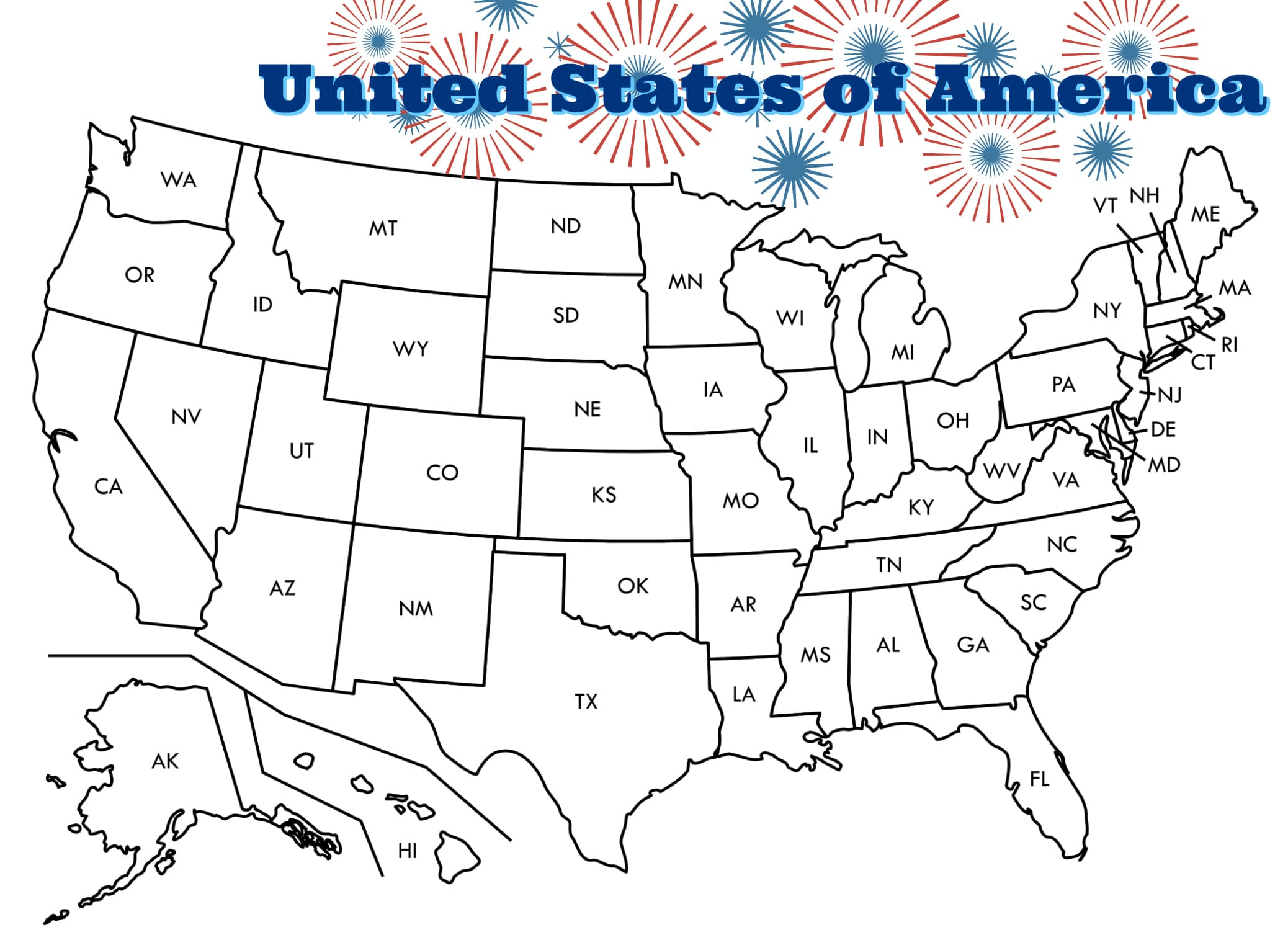 Coloring page united states for Maps coloring pages